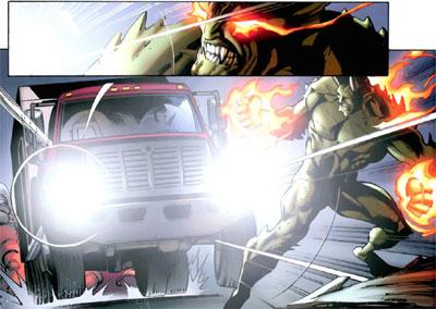مری جین با کامیون به گرین گابلین حمله میکند